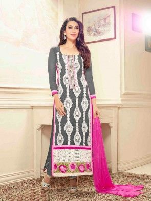 Grey Georgette Suit with Embroidery Work