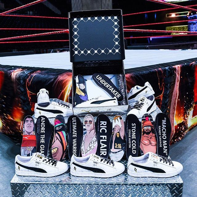 The WWE has teamed up with Puma for a special selection of Clydes inspired by the legends of wrestling. This set is releasing exclusively at Foot Locker on the day before #Wrestlemania 33. For a complete look at the #WWE x Puma collection, tap the link in our bio. #instasneakers #instagramanet #adidas #reebok #sneakerheads