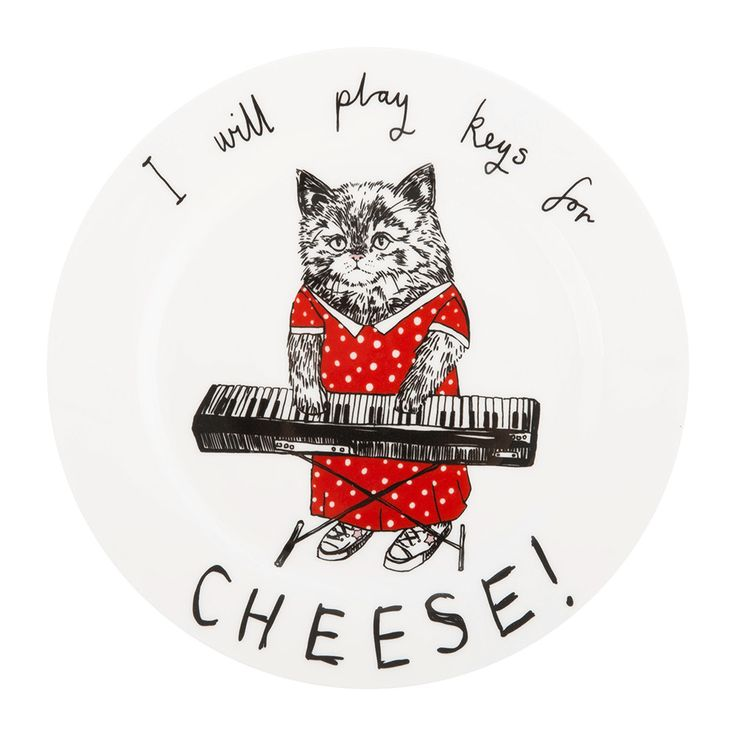 I Will Play Keys for Cheese side plate from Jimbobart. Made from bone china