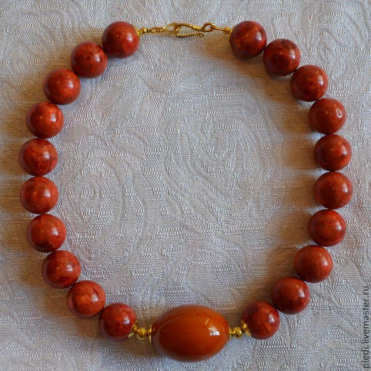 Бусы коралловые с янтарем - коралловый,янтарь,янтарь натуральный,Янтарный