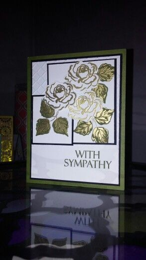 Gina K. Designs Stamp TV With Sympathy card using flowers and frames stamp kit by Gina K. designs. One of my more fancy cards. Tutorial link provided: