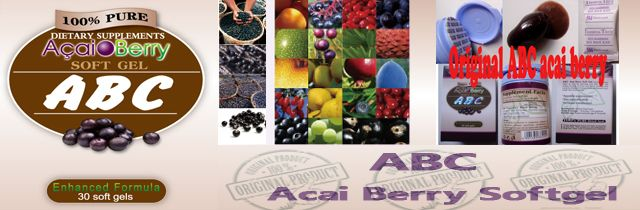 ABC Acai Berry soft gel Advantages: Appetite Suppressant Skin Beautification Increase Metabolism No Side Effects No Rebounding Effect Originated from: http://www.mglhealth.com/show.asp?id=16