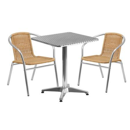 Flash Furniture 23.5'' Square Aluminum Indoor-Outdoor Table with 2 Rattan Chairs, Multiple Colors, Beige