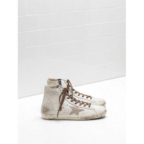 Chaussure Golden Goose Nouveau Golden Goose Francy GGDB Femme Sneakers Argent Marron Soldes