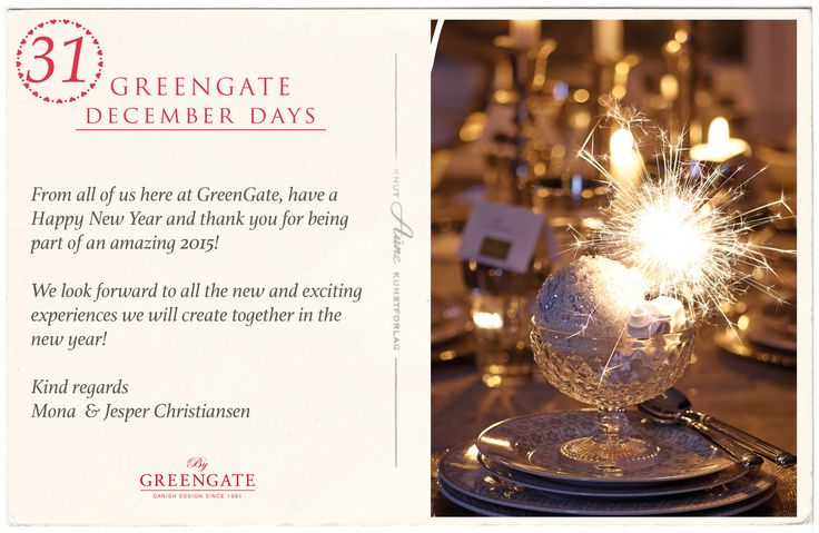 The 31st of December ✨ From all of us here at GreenGate, have a Happy New Year and thank you for being part of an amazing 2015!  We look forward to all the new and exciting experiences we will create together in the  new year!  Kind regards Mona & Jesper Christiansen  #GreenGateDecemberDays #The31stOfDecember #DanishChristmasTraditions #Denmark #HappyNewYear #NewYear2016 #2016 #December #Christmas #GreenGate #NewYear #GreenGateOfficial @greengateofficial