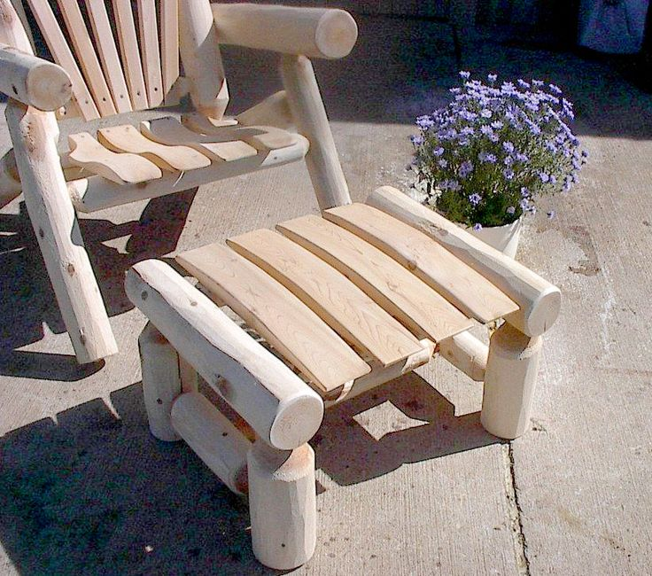 White Cedar Rustic Log Ottoman / Foot Stool. Great Outdoor Furniture Piece  To Pair With