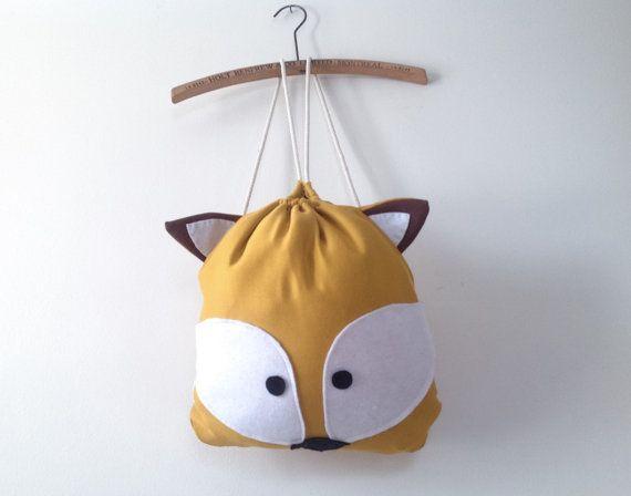 Sac à dos renard en tissus / Sac à dos en tissus / Sac à dos pour enfant / Sac à vêtements / Sac à lunch / Sac pour école