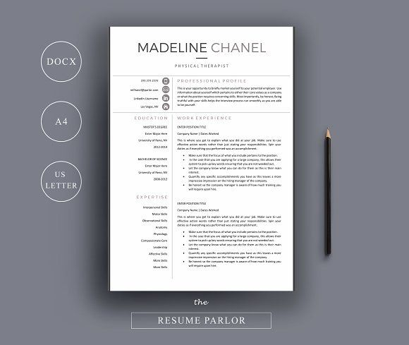 Resume Template 4 Page   Therapist  by The Resume Parlor on @mywpthemes_xyz
