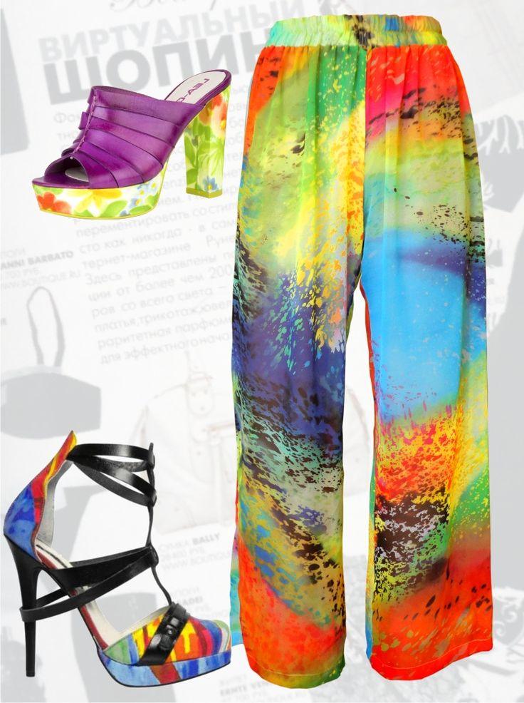 28$ Шифоновые брюки для полных женщин и девушек яркие Артикул 499, р50-64