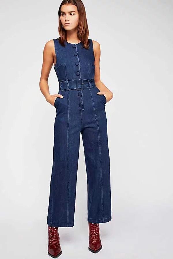8374075a6b92 Wholesale Sleeveless Single-Breasted Wide Leg Denim Jumpsuits XZA010823BU