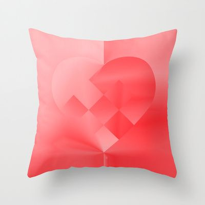 Danish Heart Love Throw Pillow by Gréta Thórsdóttir - $20.00  #love #heart #girly #Christmas #red #scarlet #ombre #pattern #bedroom #kids