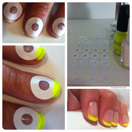 French Manicure mithilfe von Lochverstärkern