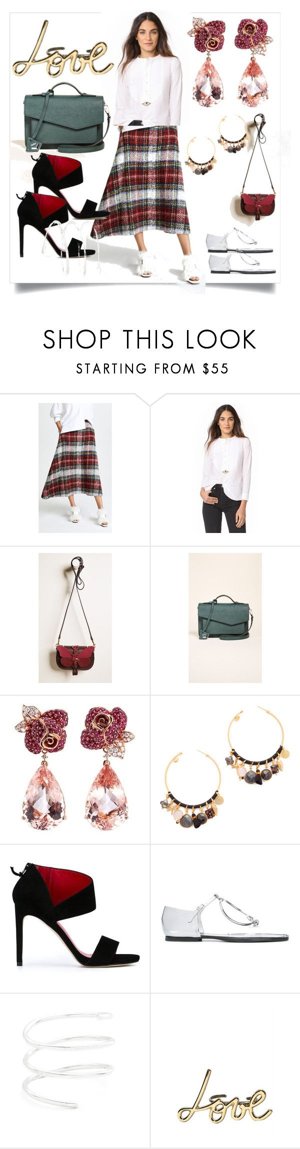 """""""Plaid Mini Skirt..**"""" by purnima0309 ❤ liked on Polyvore featuring pushBUTTON, Figue, Anya Hindmarch, Botkier, Anyallerie, Gas Bijoux, Stuart Weitzman, Maison Margiela, Lanvin and vintage"""