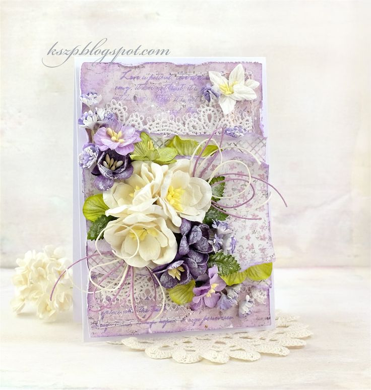 Hello everyone :)  Today I'd like to share with you a card with white and violet flowers. I used magnolias, cherry and apple blossoms, gyps...