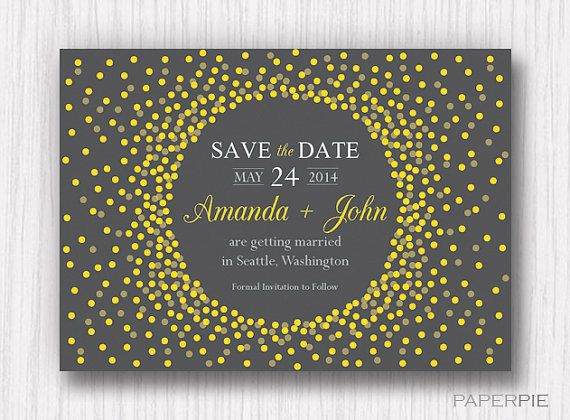 Yellow and Charcoal Gray Save the Date Flat by paperpieinvitations
