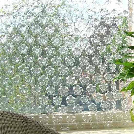 window curtains and decorative screens made of empty plastic bottles