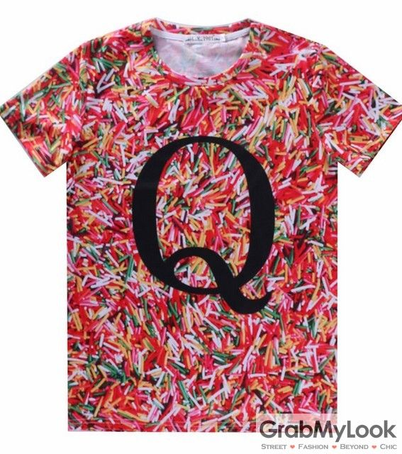 GrabMyLook Colored Vermicelli Q Letter Mens Short Sleeves T Shirt