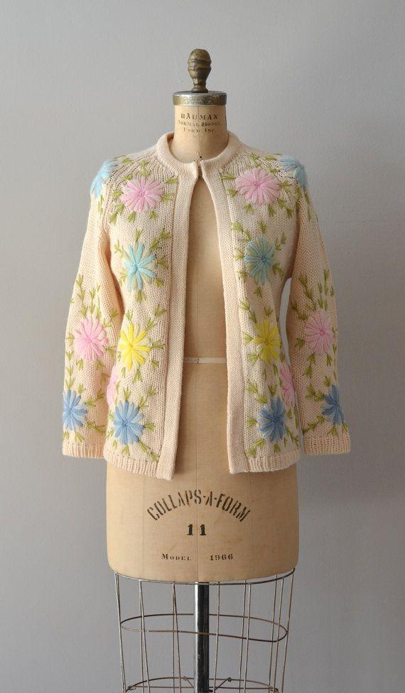 Petit Four cardigan / crewel 1960s wool sweater / by DearGolden