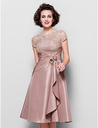 Mère de la robe de mariée - Longueur genou A-line - Festonné (Dentelle/Taffetas) – EUR € 109.99