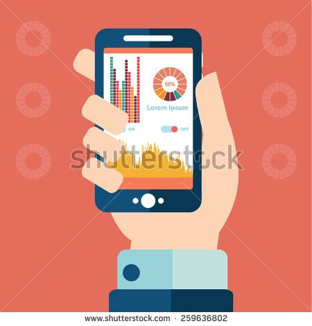 Smartphone infographics with a hand holding a phone