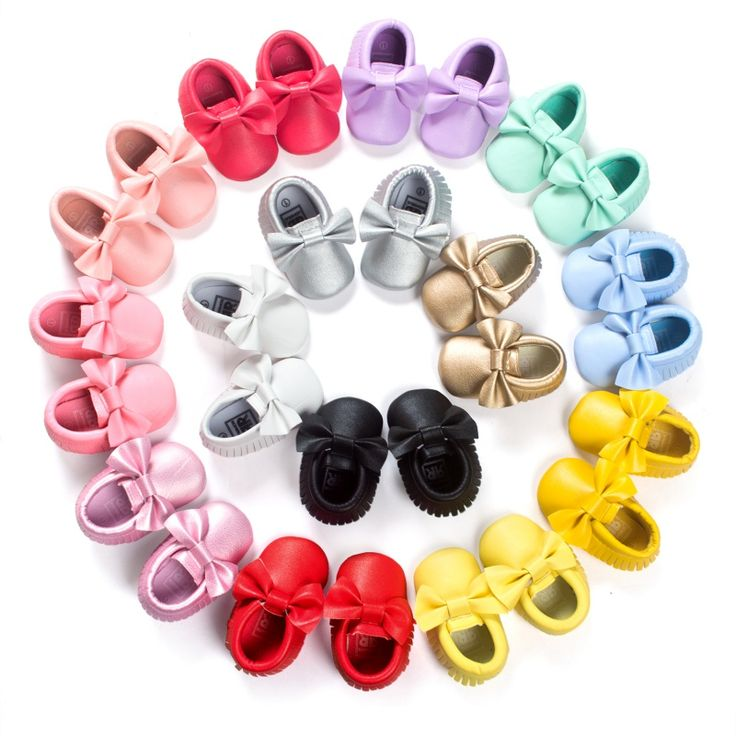 Bébé Mocassins Enfants Filles Parti Princesse Casual Chaussures PU Doux Appartements Arc 14 Couleurs Bébé Fille Chaussures Premiers Marcheurs