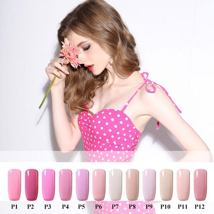 10 ml di Colore Rosa Serie Vernis Semi Permanente Gel Lak Smalto di Chiodo Gelpolish Olografica Polvere Acrilica Esmalte Smalto per le Unghie Glitter