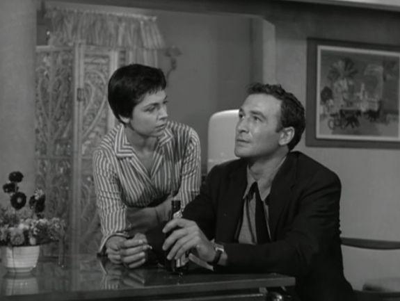 Ellen Parker and Robert Loggia in Cop Hater (1958) Directed by William Berke