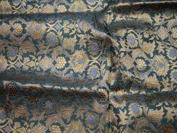 "114cm 1 mtr gold floral jacquard dress fabric..45"" wide"