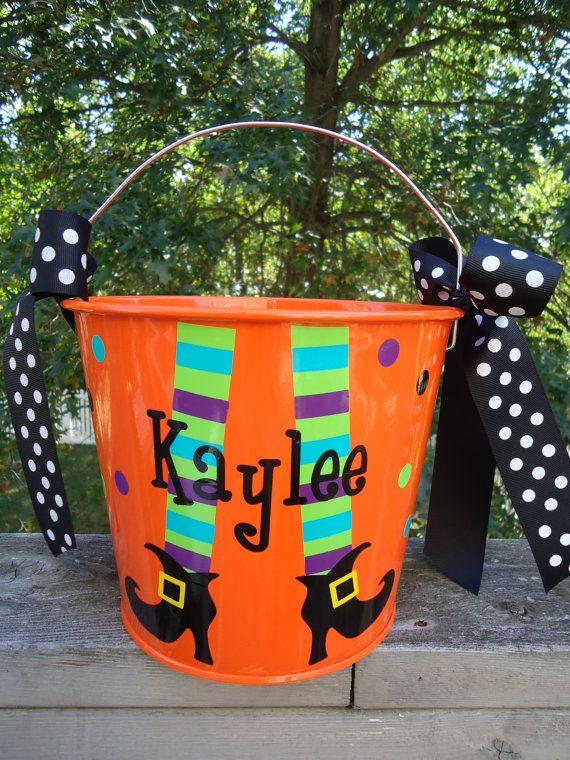 Halloween bucket Personalized Halloween bucket by DottedDesigns, $22.00