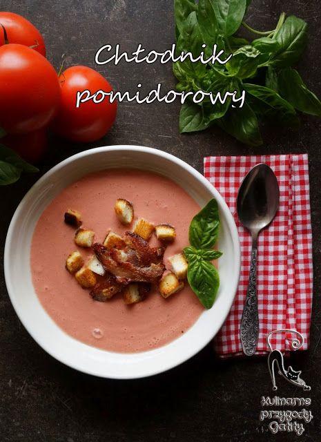 Kulinarne przygody Gatity: Pomidorowy chlodnik z chrupiacym boczkiem i grzank...