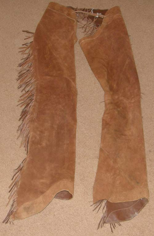 Brown Smoothie Western Show Chaps Equitation Chaps Suede Rough Out Smooth Leather Western Chaps with Fringe Silver Concho