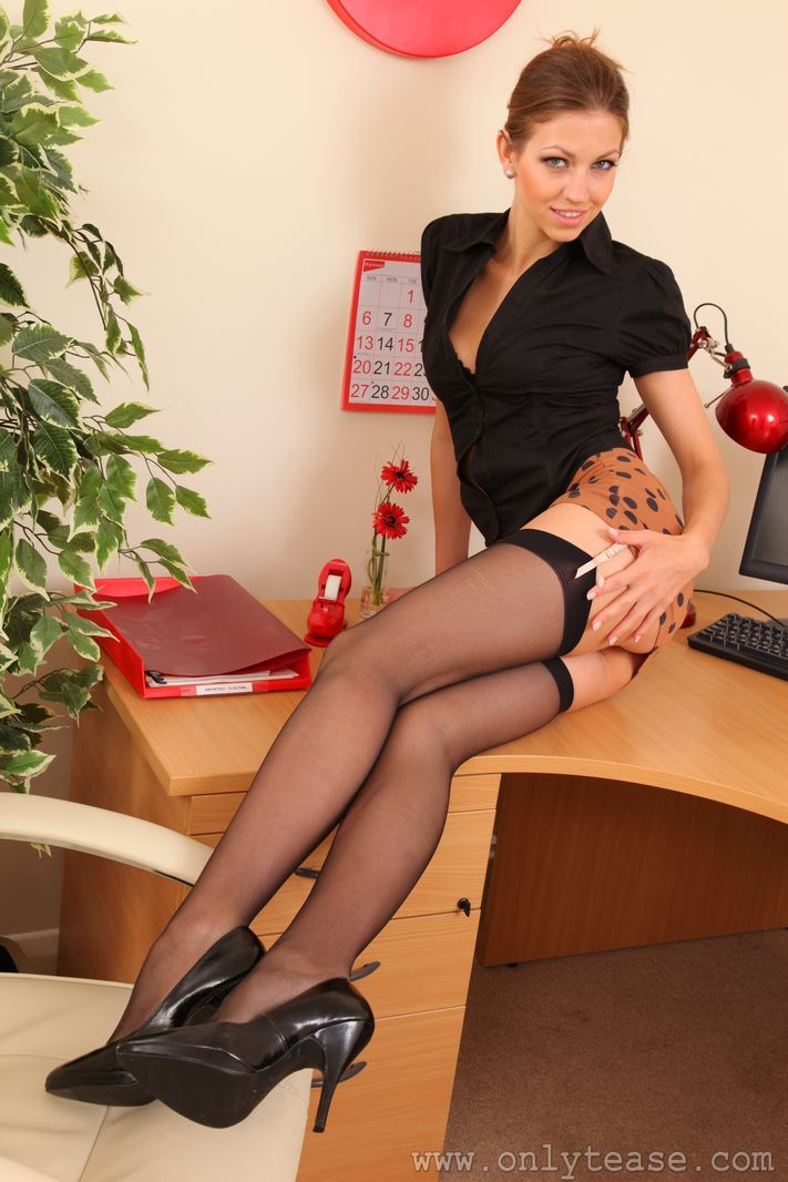 Just perfect secretary pantyhose strip boob and ass
