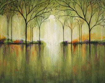 Paisaje árboles abstractos texturados arte Marems por LaurenMarems