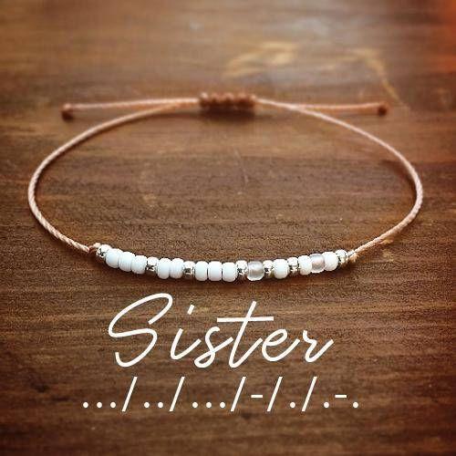 Schwester Morse Code Armband Armbänder für Frauen bester Freund