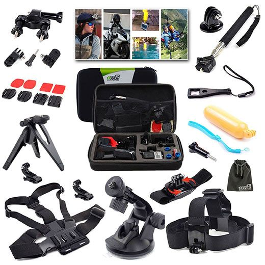 4. EEEKit 216015 Outdoor Sports Professional 21-in-1 Kit for GoPro Hero4/3+/3/2/1 with Shockproof Carrying Case