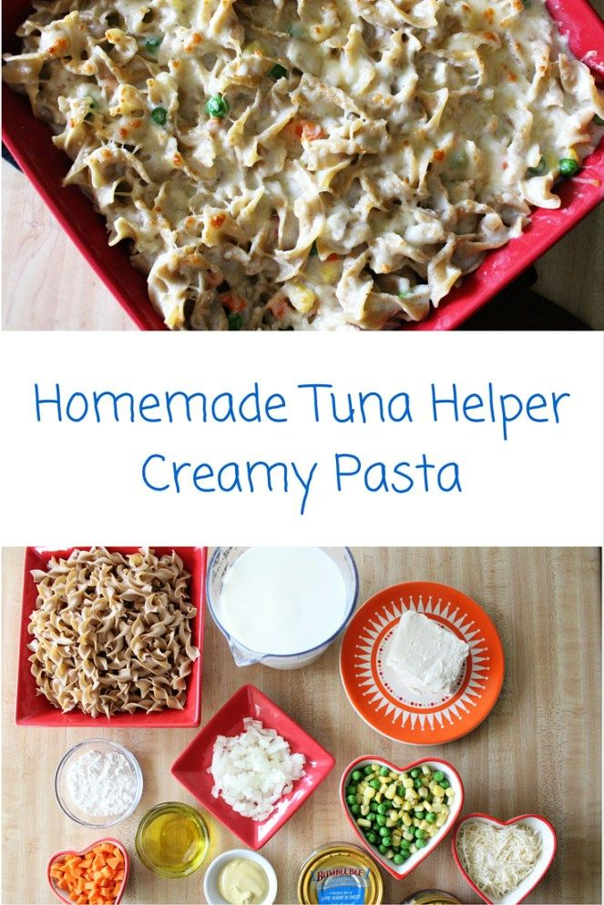 This is a homemade version of Tuna Helper Creamy Pasta. It is a good tuna noodle casserole dish so you can make a healthier version of the popular boxed dinner.
