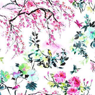 chinoiserie flower - peony fabric