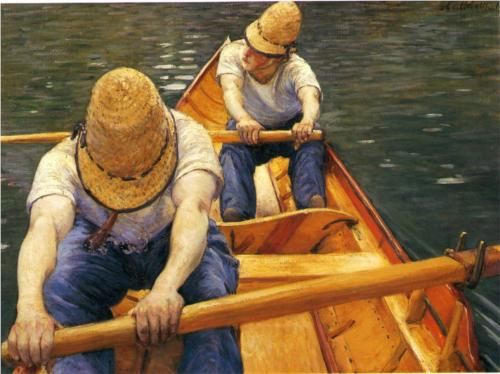 Boaters Rowing on the Yerres - Gustave Caillebotte, 1877-79, private collection
