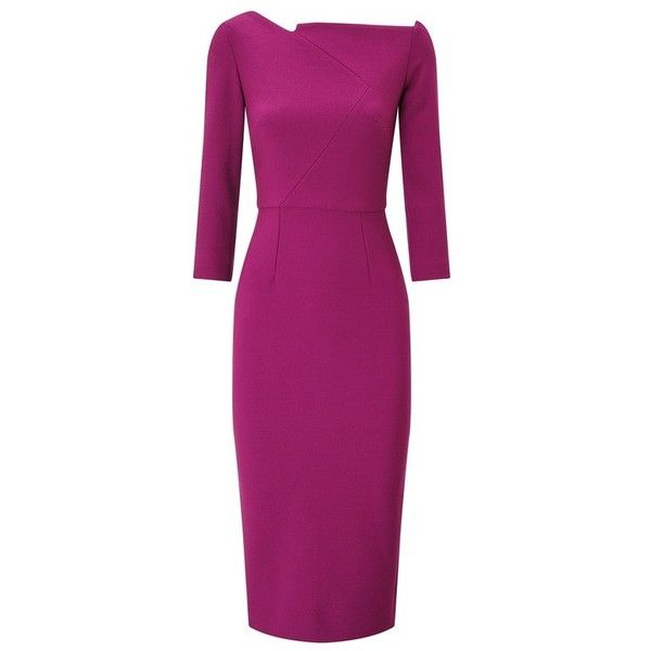 Roland Mouret Witham Dress ($1,440) ❤ liked on Polyvore featuring dresses, midi, pink, mullet dresses, wetlook dress, wet look dress, purple dresses and pencil dresses