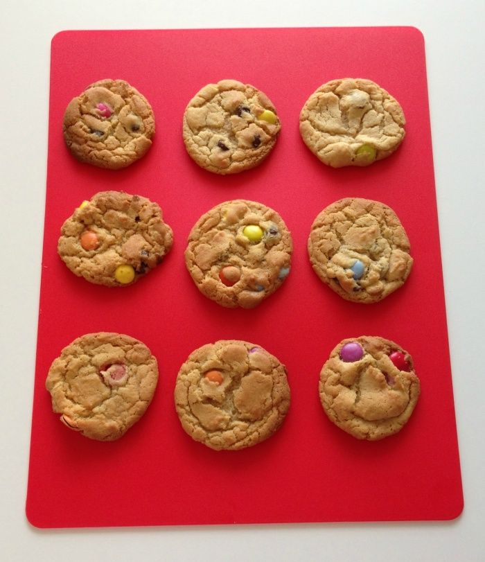 Makes about 24 cookies These cookies are chewy and rainbow coloured. They remind me of my M&M Chocolate Chewy Cookies without the chocolate! I lused Smarties because they're our favourite but ...