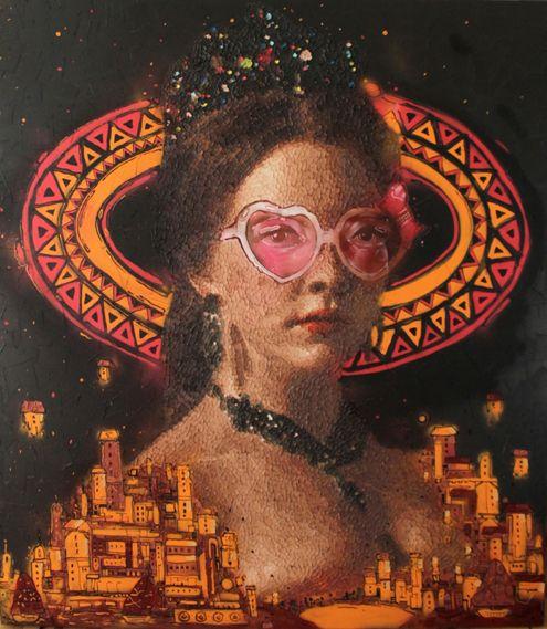 160cm*140cm 'pirensesler kraliçesi' 2014 oil on canvas and mixed technical