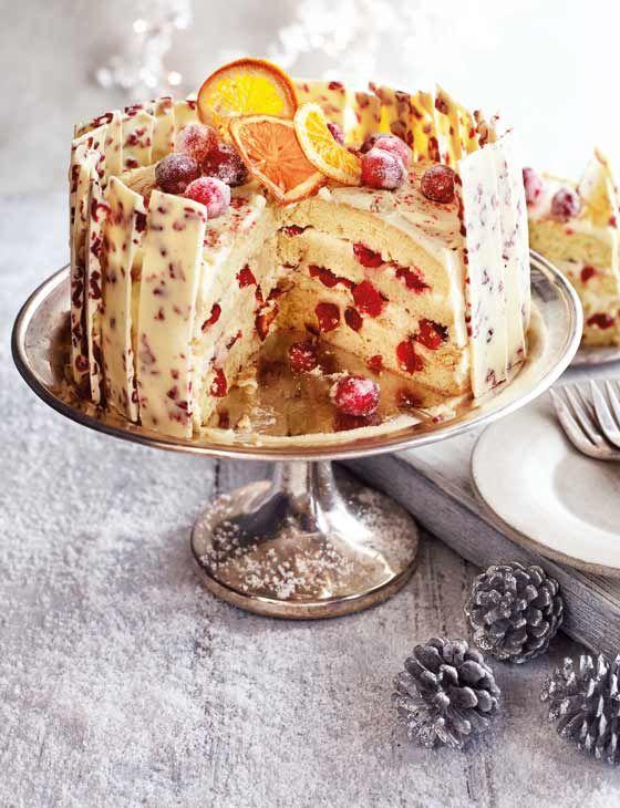 Orange, cranberry and white chocolate gateau