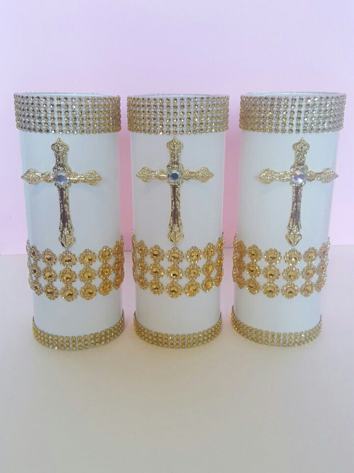 BAPTISM CHRISTENING CENTERPIECESCross Vases white And