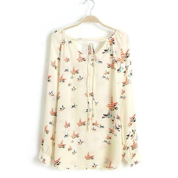 Mujeres Tops Moda Gasa de la Impresión Floral de La Blusa de Manga Larga Tops Casual Camisas de la Nueva Llegada
