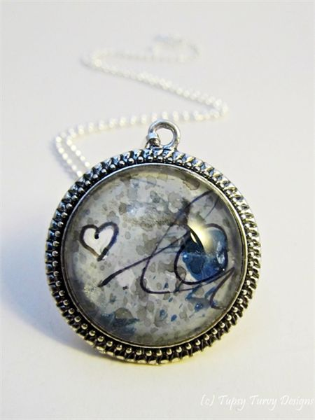Mixed media art pendant in navy and grey hues with heart www.madeit.com.au/TupsyTurvy