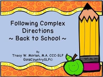Free! Back to School Following Complex Directions