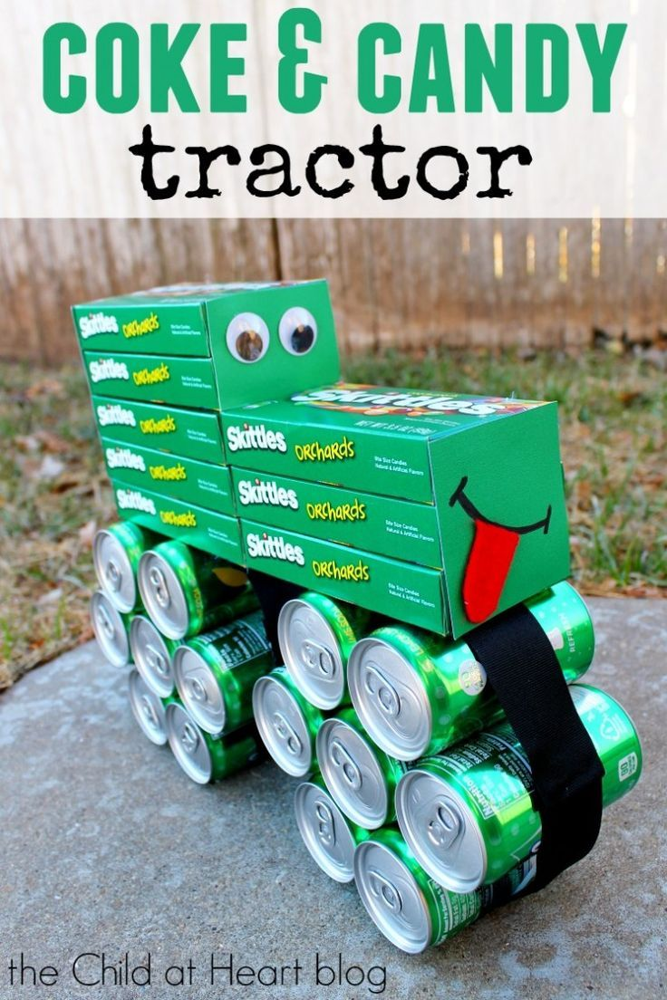How to Make a Coke and Candy John Deere Inspired Tractor Gift: Make this super fun gift in just a few minutes for the farmer in your life! Gift basket Ideas #giftbasketideas #giftbaskets