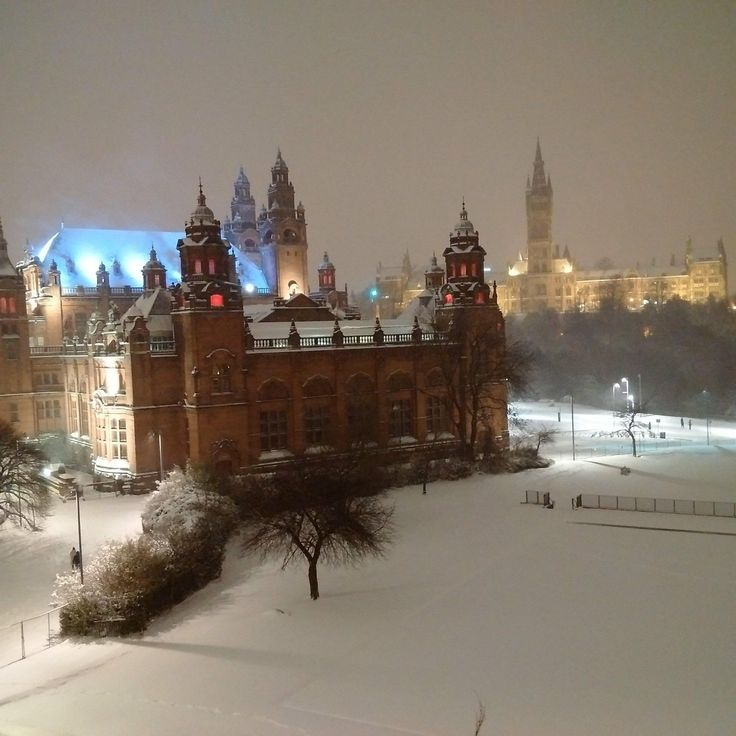 Night at the Museum after the Beast from the East. Kelvin grove Art Gallery and Museum Glasgow UK