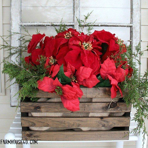 s 9 gorgeous ways to use a plain wooden crate for christmas, christmas decorations, repurposing upcycling, seasonal holiday decor, Make a Porch Planter
