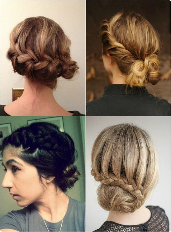 chic side French braid twist bun with long straight best human hair extensions